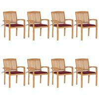 vidaXL Стифиращи градински столове с възглавници 8 бр тик масив
