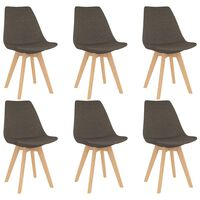 vidaXL Трапезни столове, 6 бр, таупе, текстил