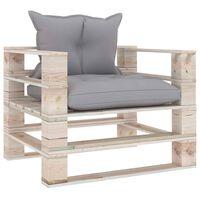 vidaXL Градински палетен диван със сиви възглавници, борово дърво