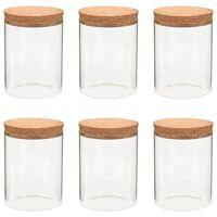 vidaXL Стъклени буркани за съхранение с коркови капаци, 6 бр, 650 мл