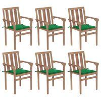 vidaXL Стифиращи градински столове с възглавници, 6 бр, тик масив