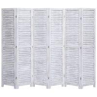 vidaXL Параван за стая, 6 панела, сив, 210x165 cм, дърво