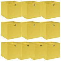 vidaXL Кутии за съхранение, 10 бр, жълти, 32x32x32 см, текстил