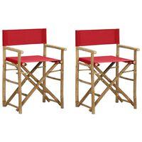 vidaXL Сгъваеми режисьорски столове, 2 бр, червени, бамбук и текстил