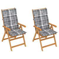 vidaXL Градински столове, 2 бр, възглавници на сиво каре, тик масив