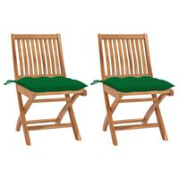 vidaXL Градински столове 2 бр зелени възглавници тиково дърво масив