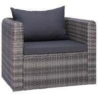 vidaXL Градински стол с възглавници, полиратан, сив