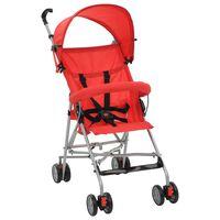 vidaXL Сгъваема детска количка тип бъги, червена, стомана