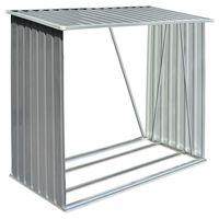 vidaXL Навес за дърва, поцинкована стомана, 163x83x154 см, сив