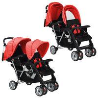vidaXL Комбинирана количка тандем, стомана, червено и черно
