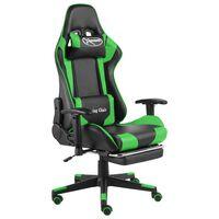 vidaXL Въртящ геймърски стол с подложка за крака, зелен, PVC