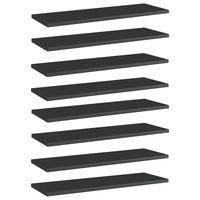 vidaXL Рафтове за етажерка, 8 бр, черен гланц, 60x20x1,5 см, ПДЧ