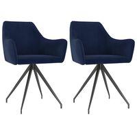 vidaXL Трапезни столове, 2 бр, сини, кадифе