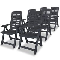 vidaXL Накланящи се градински столове, 6 бр, пластмаса, антрацит