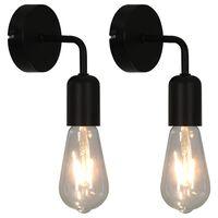 vidaXL Стенни лампи с крушки филамент, 2 бр, 2 W, черни, E27