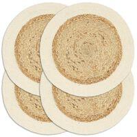 vidaXL Подложки за хранене 4 бр естествени 38 см кръгли юта и памук