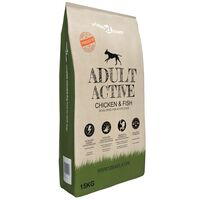 vidaXL Премиум храна за кучета Adult Active Chicken & Fish 15 кг