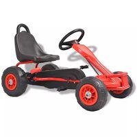 vidaXL Детски картинг с педали и гуми, червен