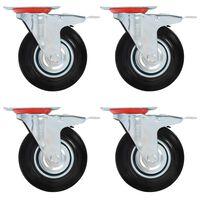 vidaXL 4 бр въртящи се колела с двойни спирачки, 125 мм