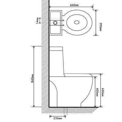 vidaXL Керамичен моноблок тоалетна чиния кръгла долно оттичане черна