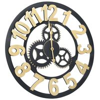 vidaXL Стенен часовник, златисто и черно, 70 см, МДФ