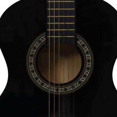 """vidaXL Класическа китара за начинаещи и деца, черна, 1/2, 34"""""""