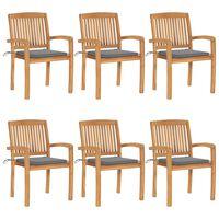 vidaXL Стифиращи градински столове с възглавници 6 бр тик масив