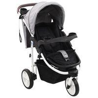 vidaXL Бебешка количка триколка, сиво и черно
