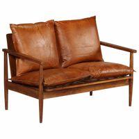 vidaXL 2-местен диван, естествена кожа, акациево дърво, кафяв