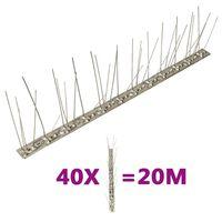 vidaXL 5-редови иноксови шипове срещу птици и гълъби, 40 бр, 20 м