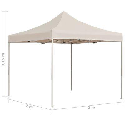 vidaXL Професионална сгъваема парти шатра, алуминий, 2x2 м, кремава