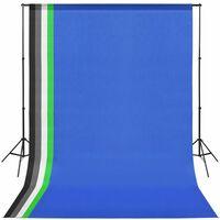 vidaXL Комплект за фото студио с фонове в 5 цвята и регулируема рамка