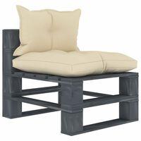 vidaXL Градински палетен междинен диван с кремави възглавници дърво