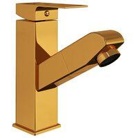 vidaXL Смесител за баня с функция за издърпване, златист, 157x172 мм