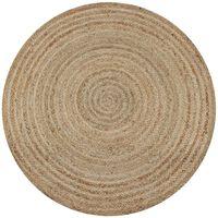 vidaXL Плетен килим от юта, 150 см, кръгъл