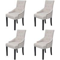 vidaXL Трапезни столове, 4 бр, кремаво-сиви, текстил