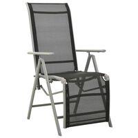 vidaXL Градински стол реклайнер, Textilene и алуминий, сребрист
