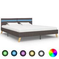 vidaXL Рамка за легло с LED, светлосива, плат, 180x200 см