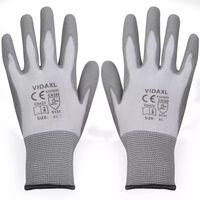vidaXL Работни ръкавици, PU, 24 чифта, бяло и сиво, размер 9 / L
