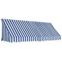 vidaXL Бистро сенник, 300х120 см, синьо и бяло