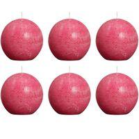Bolsius Свещи стил рустик, сферични, 6 бр, 80 мм, цвят фуксия
