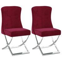 vidaXL Трапезни столове 2 бр виненочервени 53x52x98 см кадифе и инокс
