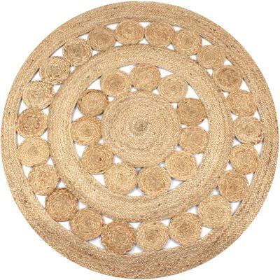 vidaXL Плетен килим с дизайн, от юта, 120 см, кръгъл