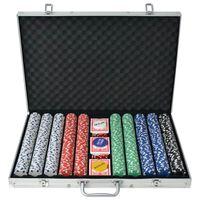 vidaXL Покер комплект с 1000 чипа, алуминий