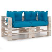 vidaXL Градински 2-местен палетен диван с възглавници, борово дърво
