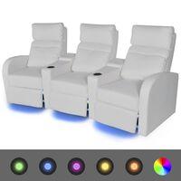 vidaXL LED Диван реклайнер, 3-местен, изкуствена кожа, бял