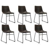 vidaXL Трапезни столове, 6 бр, тъмнокафяви, изкуствена кожа