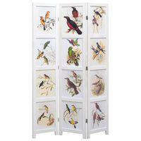 vidaXL Параван за стая, 5 панела, бял, 175x165 cм, принт птици
