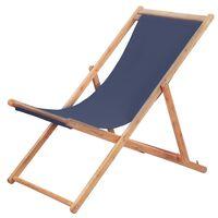 vidaXL Сгъваем плажен стол, текстил и дървена рамка, син