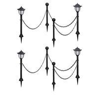 vidaXL 4 бр соларни лампи с верижна ограда и колчета